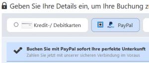 Booking.com - bezahlen mit PayPal